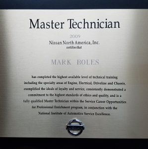 Nissan Master Technician Plaque. Concord certified master technician.
